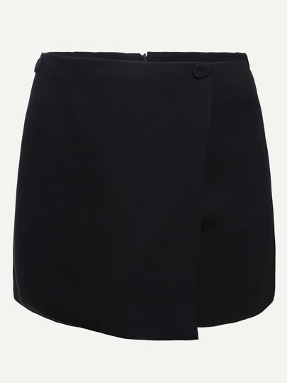 Black Wrap Skirt Shorts With Zipper