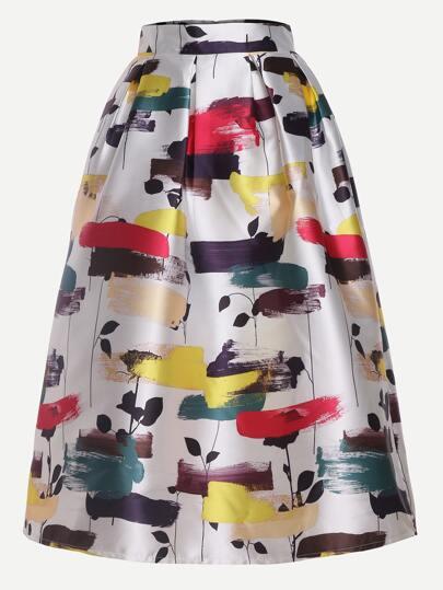 Leaves Print Flare Skirt