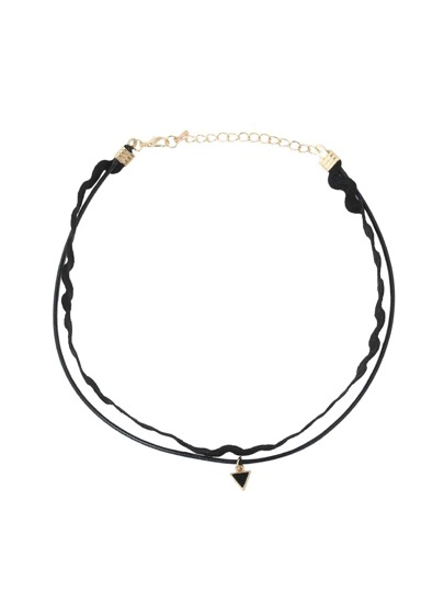 Triangle Pendant Lace Ribbon Choker Necklace