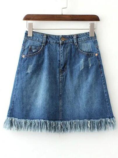Blue Pockets Scratch Fringe Hem Denim Skirt