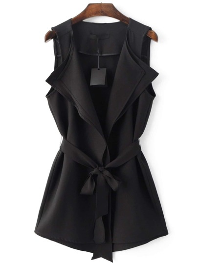 Chaleco cintura con cordón -negro