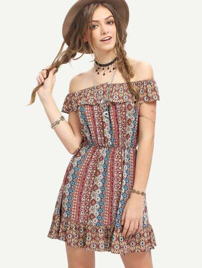 Multicolor Off The Shouder Print Boho Dress