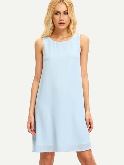 Blue Sleeveless Backless Round Neck Shift Dress