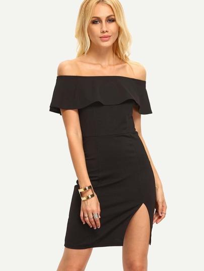 Vestido de hendidura con escote bañera de volante -negro