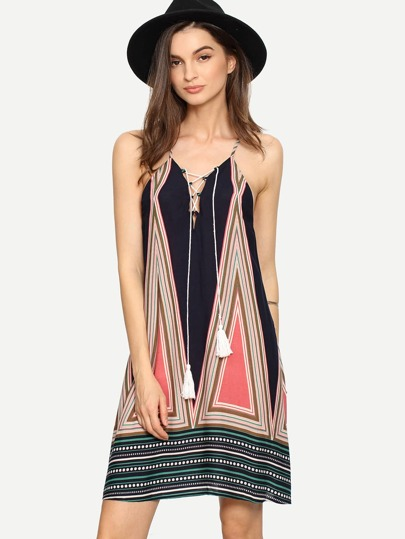Multicolor Lace-up String Slip Shift Dress