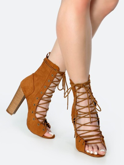 Faux Suede Stacked Heel Booties TAN