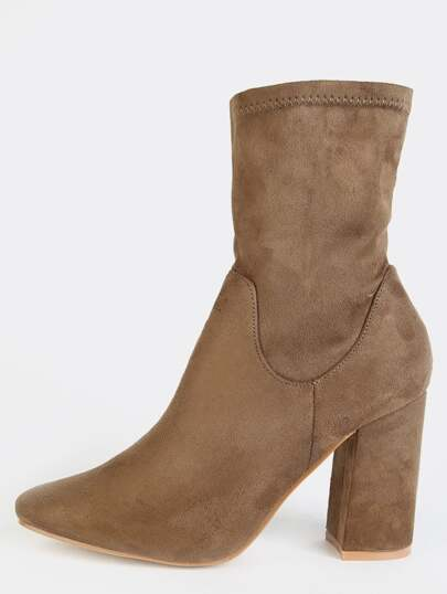 Faux Suede High Shaft Booties TAUPE