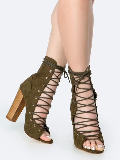 Lace Up Cylinder Heel Ankle Booties OLIVE