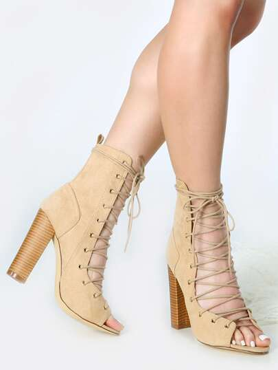 Lace Up Chunky Heel Ankle Boots BEIGE
