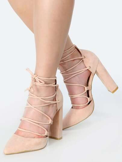 Pointy Toe Lace Up Chunky Heels BLUSH