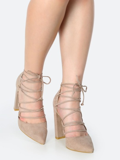 Pointy Toe Faux Suede Wrap Heels TAUPE
