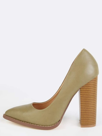 Pointy Toe Stacked Pumps OLIVE