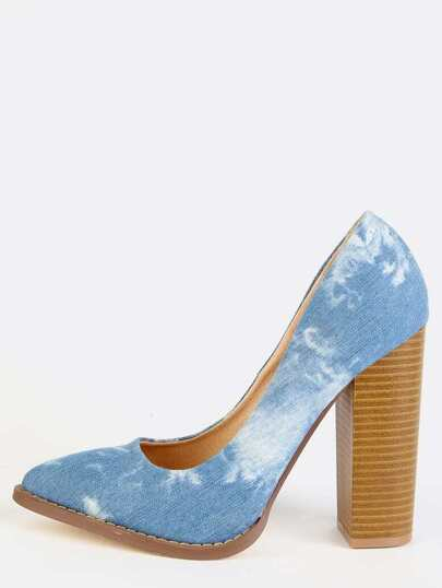 Acid Wash Pointy Toe Chunky Pumps DENIM
