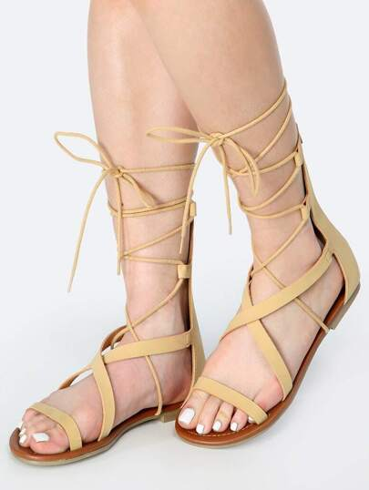 Open Toe Wrap Up Gladiator Sandals NATURAL