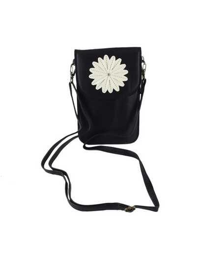 PU Handtasche mit Blumenmuster - schwarz