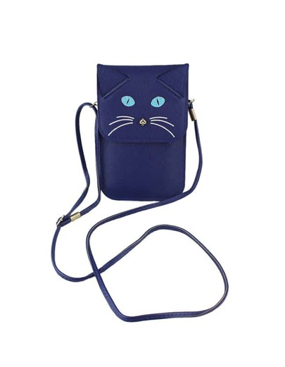 Blue Cute Cat Pattern Shoulder Bag