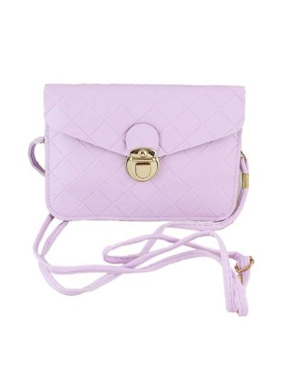 Purple Candy Color Pu Leather Handba