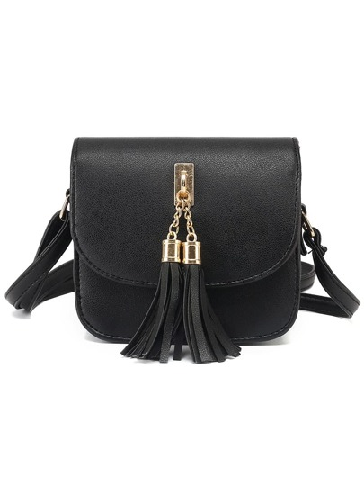 Black Tassel Embellished Flap Bag