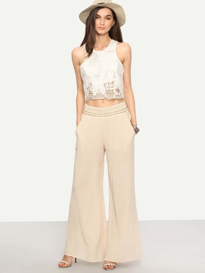 Apricot Hollow Out Wide Leg Pant