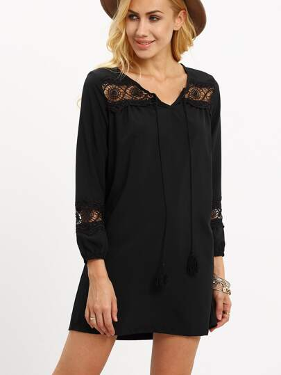 Black Lace-Insert Tassel Tie-Neck Dress