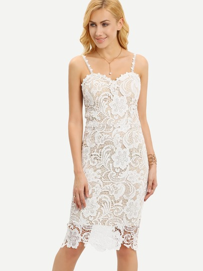 White Lace Sheath Cami Dress