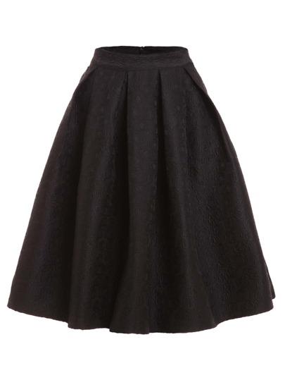 Black Flower Embossed Box Pleated Volume Skirt