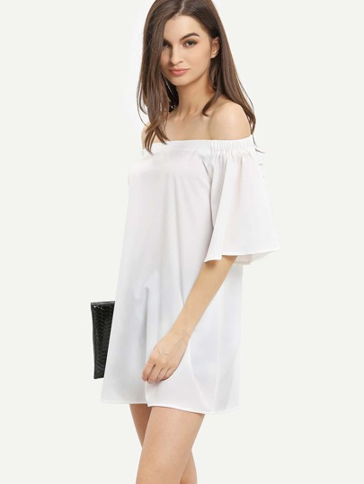 White Off The Shoulder Half Sleeve Shift Dress