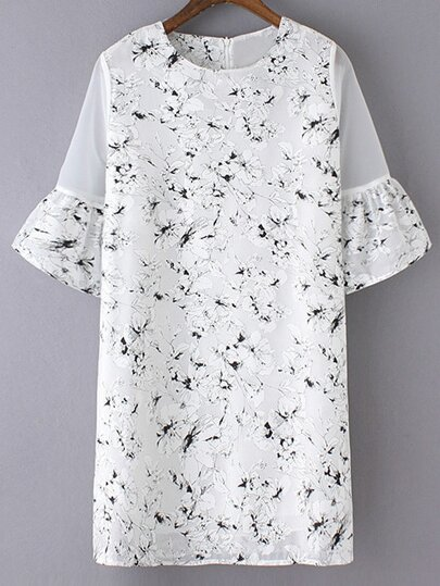 Multicolor Bell Sleeve Zipper Back Flowers Print Dress