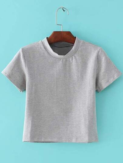 Camiseta manga corta casual -gris
