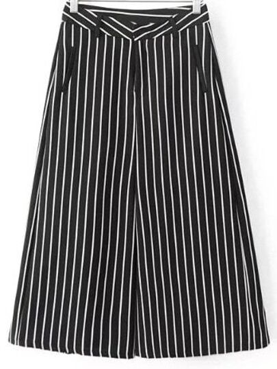 Black White Pockets Stripe Wide Leg Pants