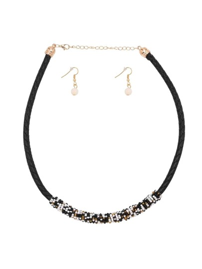 ColorBlock Beaded Woven Choker Jewelry Set