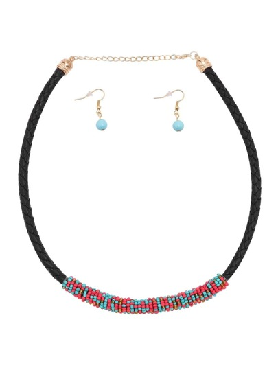 Red Blue ColorBlock Beaded Woven Choker Jewelry Set