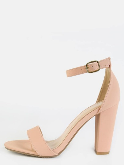 Open Toe Ankle Strap Block Heels ROSE