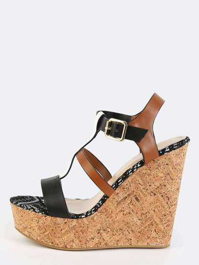 Tri-Colored Woven Wedges BLACK MULTI