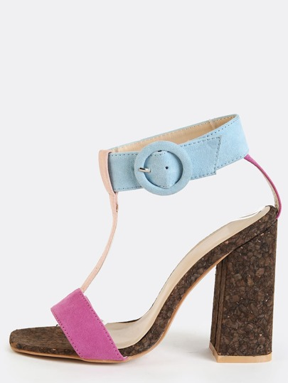 Tri-Colored Open Toe Chunky Heels BERRY