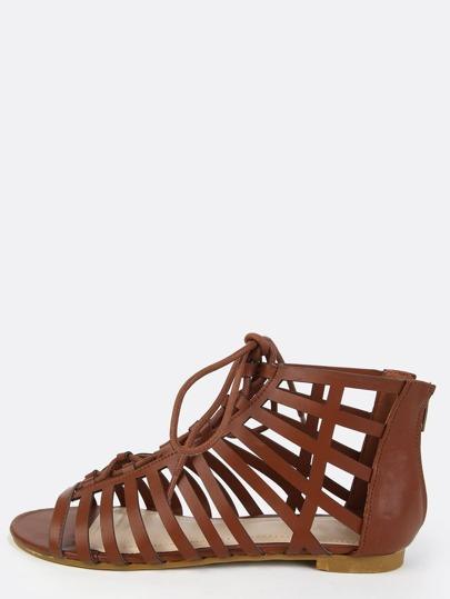 Open Toe Cut Out Sandals CHESTNUT