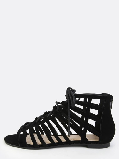Open Toe Caged Sandals BLACK