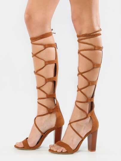 Braided Lace Up Gladiator Heels CHESTNUT