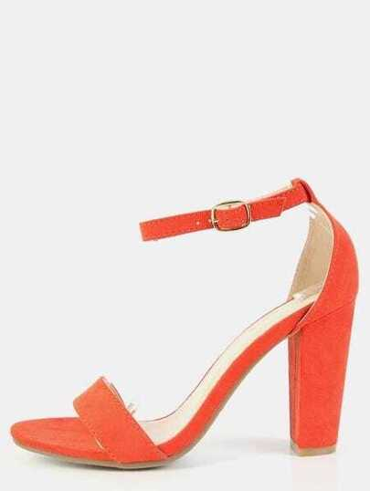 Ankle Strap Single Strap Chunky Heels ORANGE