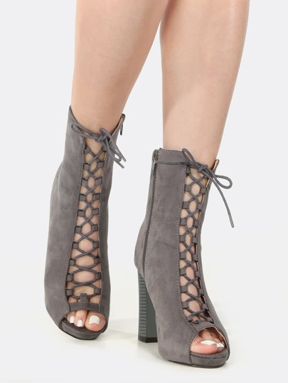 Peep Toe Lace Up Chunky Heel Booties GREY