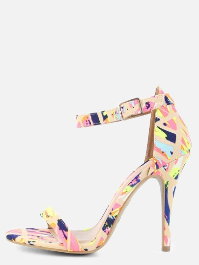 Paint Strokes Single Sole Heels NUDE MULTI