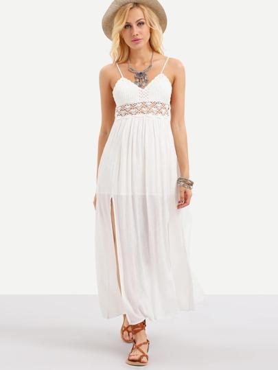 White Spaghetti Strap Crochet Hollow Out Split Dress