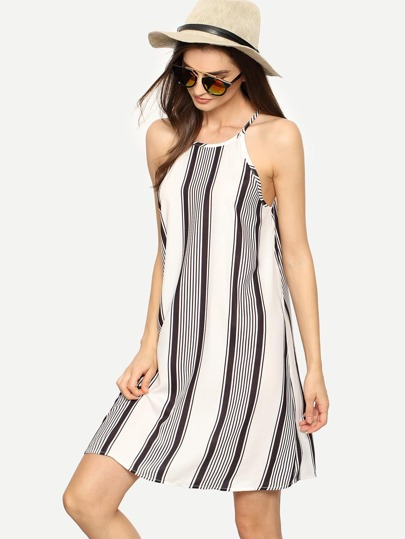 Black White Sleeveless Stripe Shift Dress