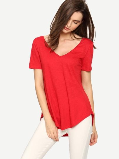 Red Short Sleeve V Neck T-shirt