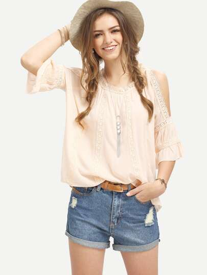 Pink Cold Shoulder Three Quarter Sleeve Blouse