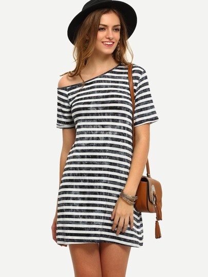 Black Stripe One Shoulder Short Sleeve Dress