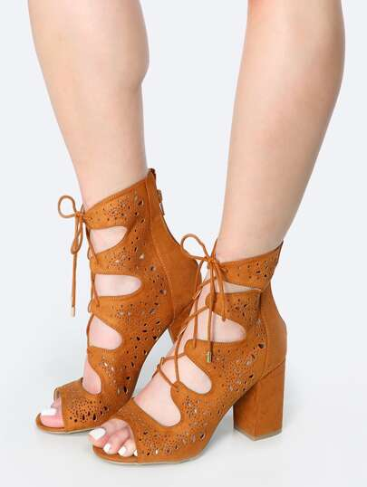 Chunky Heel Cut Out Ankle Boots WHISKY