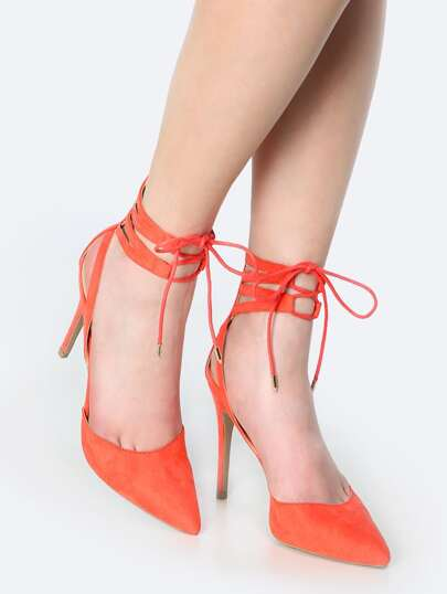 Pointy Toe Lace Up Stiletto Heels DARK CORAL