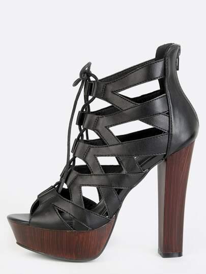 Platform Caged Chunky Heels BLACK