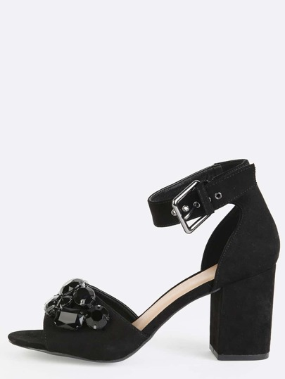Open Toe Bejeweled Chunky Heels BLACK